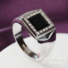 18K White Gold Plated Black Agate Classic Square Shaped Large Men`s Ring