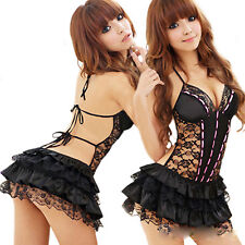 Sexy Lady Mini Dress Underwear Backless Lace Lingerie Set G-string Babydoll