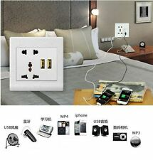 UK 2 USB Port Electric Wall Charger Station Socket Adapter Power Outlet Panel