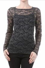 Gray Lace L & B Sheer Layer Top Blouse S-M-L-XL NEW Made in USA Nylon Spandex