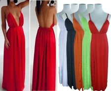 SEXY Plunge Deep V neck Strap Open Backless Slit Pleat Prom Long Gown Maxi Dress