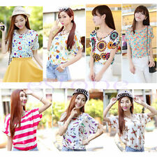 Casual Short Sleeve Heart Printed Chiffon T-shirt Tops Blouse Fashion Women New