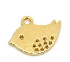 Wholesale Lots Gold Plated Bird Charm Pendants 16x13mm
