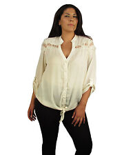 Plus size button up tie front cut out lace tab sleeve shirt top blouse 1X 2X 3X