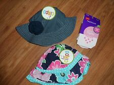 2 infant hats ~ girls ~ denim sun cap bucket + 2 pink tights by Hanes ~ Circo