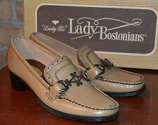 Nos Vintage Lady Bostonians 1950 60s Moccasin Loafers Beige Leather Womens Shoes