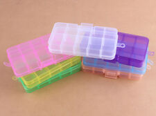 10 Slot Jewelry Rectangle Display Storage beads Organizer Case Box 1pc 7 colours