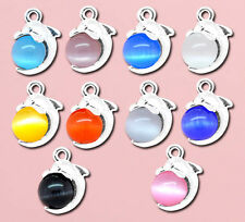 Wholesale Lots Mixed Dolphin Cat's Eye Glass Charm Pendants 16x11mm