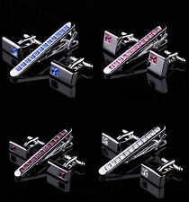 Mens Crystal Silver Stainless Steel 6.0CM Tie Clip Clasp Bars Pins Cufflinks Set