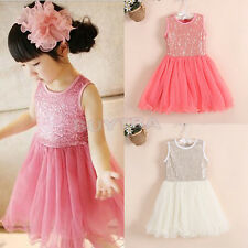 AT Toddler Kids Baby Party Princess Skirt Girls Solid Lace Floral TUTU Dress CA