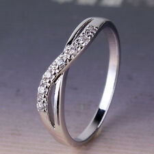 Attractive lady Wedding 18k white gold filled white sapphire  band ring  SzJ-SzR