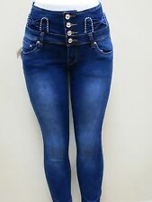 Women's Colombian Style Skinny Leg High Waist Jean Levanta Cola