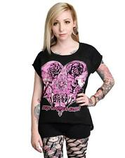 Women's Too Fast Nala T-Shirt Rose Key Lace Back Day of the Dead Girls Heart