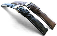 Genuine Padded Leather Watch Strap Black/Brown - 18/20/22/24mm
