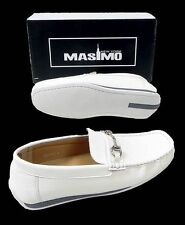 New Men's Masimo Solid Faux Leather Casual Driver Shoes Style w/ Buckle 1263