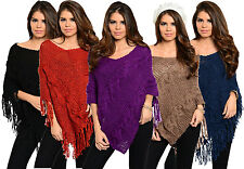 HOT Womens Ladys Loose Sweater Jumper Poncho Batwing Tassels Cape Knitwear Tops
