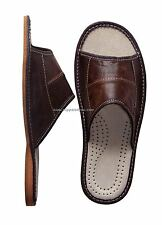 Men's Leather Slippers Shoes Slip On Sandals UK size 6.5 7 8 9 9.5 10 11 SALE!