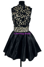 Backless High Neck Black Lace Homecoming Dress 2014 Cocktail Short Prom Dresses