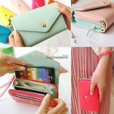 7color New Crown Multi Propose Envelope Purse Wallet For Galaxy S5 iPhone5 CaF8