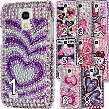 Chrome Sparkle Case Diamond Bling Hard Back Diamante Cover Floral Pattern Hearts