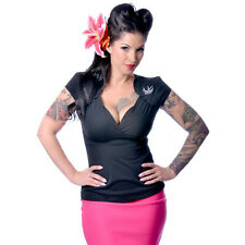 Steady Clothing Sparrow Lush Top Black Retro Vintage Inspired Rockabilly Pinup