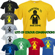 LEGO EVERYTHING IS AWESOME T SHIRT film brick funny retro movie man lady UNISEX