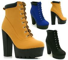 LADIES HIGH HEEL CLEATED GRIP SOLE LACE UP CHUNKY PLATFORM ANKLE BOOTS SHOES