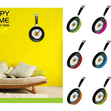 Wall Hanging Clock Funny Creative Decro Any Room Omelette Kitchen Fried Egg Pan