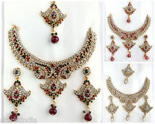 Bollywood Style Statement Gold Necklace Earring Set Indian Wedding Party Jewelry
