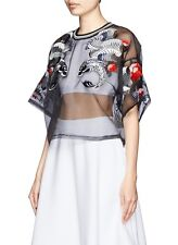2014 3.1 Phillip Lim Fish Tattoo Embroidered Sheer Top Organza cream or black