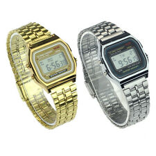 Vintage Womens Men Stainless Steel Digital Alarm Stopwatch Wrist Watch Excellent
