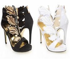 Celebrity Style Strappy High Heel Shoes Stilettos w/ wings White or Black