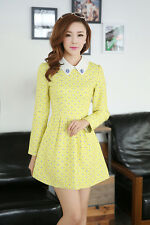 9633 # new female version of sweet collar long-sleeved Slim Jacquard Dress