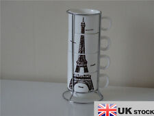 STACKABLE STACKING MUGS TOWER TEA COFFEE CUP SET OF 4 & CHROME HOLDER STAND