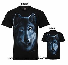 UNISEX  T-SHIRT BIKER WOLF EAGLE NATIVE AMERICAN RED INDIAN BOTH SIDE PRINTED