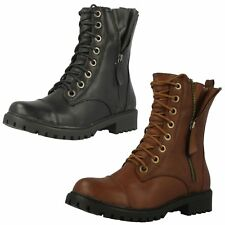 Ladies F50326 Combat Ankle Boots with Faux Zip in Dark Brown or Black by Spot On