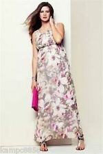 New Next Maternity Occasion White Pink & Grey Floral Maxi Dress Sz UK 8