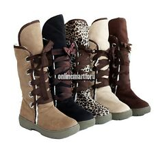Womens Faux Suede Fur Trim Flat Round Toe Buckle Winter Mid Calf Snow Boot Shoes