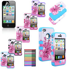 Hybrid Rubber Combo Cherry Blossom Case Hard Cover for iPhone 4G 4S   la