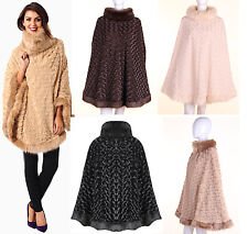 NEW WOMEN COWL POLO NECK FAUX FUR TRIM ROMANY ROSE TEXTURED LADIES CAPE 8-20