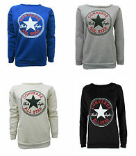New Womens Converse Logo All Star Long Sleeve Jumper Ladies Sweatshirt 8 - 14