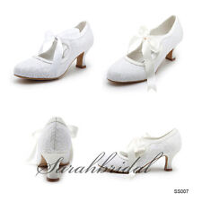 2014 New Cheap Lace White Ivory Women Mid Heel Wedding Party Bridal Shoes Pretty