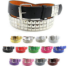 Solid Studded Leather Belt Pyramid Metal Studs Removable Buckle Unisex Mens S-XL