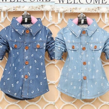 2-4Y Baby Boy Girl Unisex Long Sleeve Blouse Lapel Button Down Denim Shirt Tops
