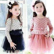 Kids Baby Girl Lace Tutu Dress Long Sleeve Polka Dot Princess Party Dress Skirts
