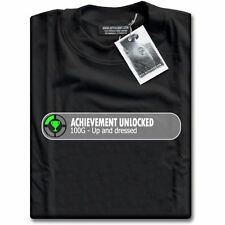 Gamers Achievement Unlocked - Up And Dressed 100G Gaming Black Mens T-Shirt Top