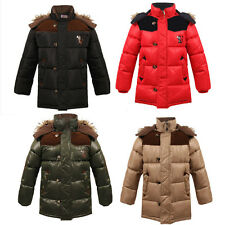 Boys Down Puffer Jacket Kids Clothes Fur Hoodie Outwear Outfit Coat Warm Thick W