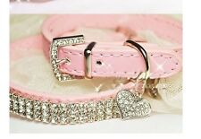 Hot Sale Pink Leather Pet Collar with Sparkly Rhinestone for Puppy Doggie or Cat
