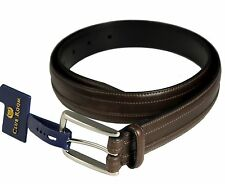 NEW NWT CLUB ROOM BELT Mens Brown Leather Brushed Silver Buckle MULTIPLE SIZES