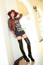 2014 Womens Shoes Cuffed High Heel Sexy Over The Knee Thigh High Boots Plus Size